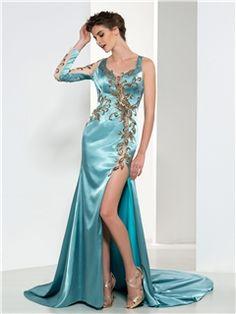 Ericdress One-Shoulder Sequins Side-Split Open-Back Evening Dress