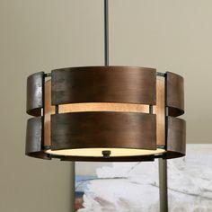 Schoolhouse Curved Wood 3-light Medium Walnut Pendant - Overstock™ Shopping - Great Deals on Chandeliers & Pendants