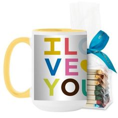 Colorful I Love You Mug, Yellow, with Ghirardelli Assorted Squares, 15 oz, Yellow