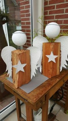Holzscheit-Engel - New Ideas Christmas Angels, Diy Christmas Gifts, Christmas Projects, Christmas Time, Christmas Decorations, Angel Crafts, Holiday Crafts, Holiday Decor, Diy Angels