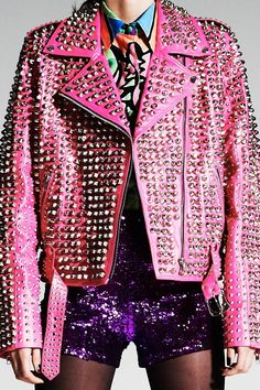 Only jacket like this - only ONE in existence! Made from incredible hot neon pink kangaroo leather. Fully hand-studded, top to bottom. Lining is custom DI$COUNT design neon cotton with logo. Classic Biker jacket cut. SIZE MEDIUM Email us for measurements at discount(at)discountuniverse.com.au