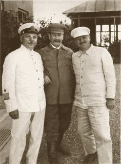 On Stalin's dacha in Sochi: KE Voroshilov, IV Stalin and AA Zhdanov. 1936 (Andrei Zhdanov 1896-1948  The Soviet party and state leader. )