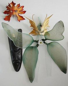 How to make fairy wings from nylons and hangers.