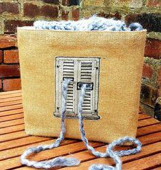 VINTAGE FRENCH WINDOW Knitting Crochet Craft Bag Storage Organiser Basket Unique Gray Jute Hessian Burlap Natural Canvas Handmade Gift