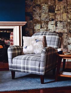This plaid Lausanne armchair would look lovely in a cosy coastal cottage