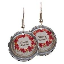 Earring Circle Charm by - CafePress Silver Platters, Yummy Cakes, Strawberry, Happy Birthday, This Or That Questions, Christmas Ornaments, Earrings, Happy Brithday, Ear Rings