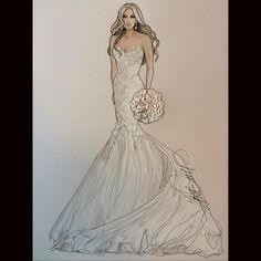 Beautiful Whitney in Enzoani- @whitneykayscott @enzoani Makeup by @blushbyjamierose #realbride #bridalillustration For Illustration enquiry- please contact- karenorrillustration@gmail.com