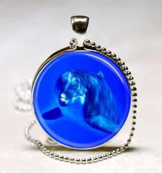 Dolphin Blue Ocean Glass Tile Jewelry Necklace Pendant