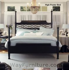 NEW! American Federal King Black Wood Four Poster Bed Bedroom Furniture