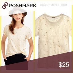 "Drapey Stars Tee We're not easily starstruck, but this T-shirt does the trick—supersoft and drapey with a little metallic sheen. Slim fit. Body length: 25 1/2"".  Cotton. Machine wash. Import. Item B1501. J. Crew Tops Tees - Short Sleeve"