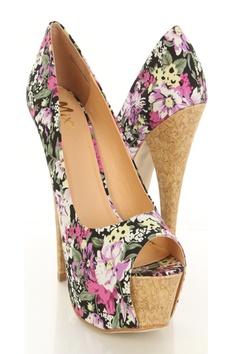 Black Floral Canvas Peeptoe Faux Cork Platform Pump Heels $37.99 http://www.amiclubwear.com/shoes-heels-pf-bali-01blackfloral.html#