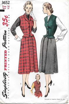 Simplicity 3652 - 1950s Weskit and Skirt Sewing Pattern, offered on Etsy by GrandmaMadeWithLove