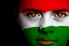 Portrait of a boy with the flag of Hungary painted on his face. Hungary Flag, Boy Photos, Magazine Articles, Video Image, Feature Film, Photo Illustration, Image Now, Black Backgrounds, Royalty Free Images