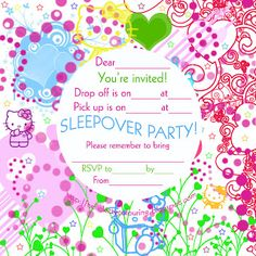 Free printable sleepover party invitations - hundreds of slumber party invitations sorted into categories for both boys and girls. Free Printable Party Invitations, Slumber Party Invitations, Birthday Invitations, Invites, Invitation Ideas, Sleepover Party, Slumber Parties, Birthday Parties, Birthday Ideas