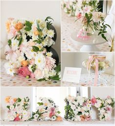 "Flowers that spell out ""BABY"" - LOVE this as baby shower decor!"