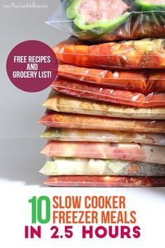Make 10 Slow Cooker Freezer Meals In Hours Free Recipes And Grocery List Included. In the event that You Want To Eat Healthy Without Slaving Away In The Kitchen This Is The Easiest Way To Do It. I Tried These Recipes And They Were So Yummy. Slow Cooker Freezer Meals, Make Ahead Freezer Meals, Dump Meals, Crock Pot Slow Cooker, Freezer Cooking, Crock Pot Cooking, Slow Cooker Recipes, Easy Meals, Cooking Recipes