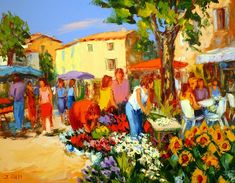 Painting of Provencal Market--Jacques Volpi Flower Market, Art Auction, Lovers Art, Les Oeuvres, Art Direction, New Art, Images, Pastel, Landscape