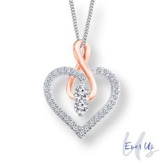 Ever+Us™+1/2+CT.+T.W.+Diamond+Heart+with+Infinity+Pendant+in+14K+Two-Tone+Gold+-+19.0""