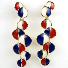 Trifari Red White and Blue Patriotic Bubbles Psychedelic Sixties Giant Pendant Clip Earrings