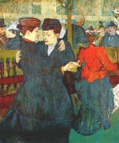 """""""At the Moulin Rouge: Two Women Waltzing"""".  (1892). (by Henri de Toulouse-Lautrec)."""