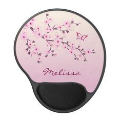 Floral Cherry Blossoms Pink  Personalize Gel Mouse Pad