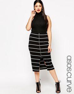 Asos Womens Curve Mono Stripe Zip Front Tube Skirt Mono - Skirts