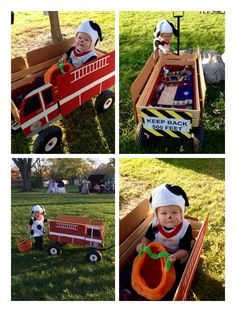 Dalmatian and fire truck costume. I had so many compliments! My husband dressed up as a firefighter and pulled the wagon. Adorable! (I painted the cardboard fire truck and mounted it to our wagon using foam adhesive tape. Bought the puppy costume from Pottery Barn.)