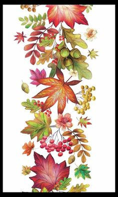 Fall Nail Designs - My Cool Nail Designs Autumn Illustration, Botanical Illustration, Watercolor Flowers, Watercolor Paintings, Leaf Drawing, Fruit Painting, Fall Nail Designs, Fall Pictures, Autumn Art