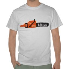 chainsaw in a hand shirt