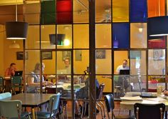 Coloured glass in the crittle doors Coffee House Interiors, Cafe Interior, Interior Design, Glass Partition, Coffee Culture, Study Space, Cafe Design, Window Coverings, Colored Glass