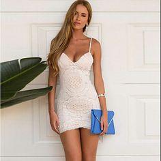 sexy bodycon verão festa na praia rendas mini vestido das mulheres de 2016 por $16.99