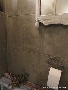 Powder room tiles painted with Pure & Original Lime Paint, finished with Dead Flat Eco Sealer.