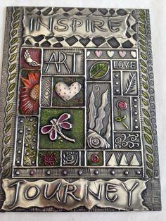 Pewter embossed Journal Cover www.pewterart.ca Elitia Hart Metal Art