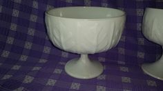 FTD  Milk Glass Footed Planter Oak Leaf 1978 White Compote Candy Dish Wedding Decor by GrandesTreasures on Etsy