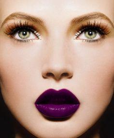 Lips Makeup Lipstick:  Plum lipstick.