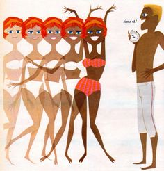 """Detail from 1960s ad for """"Tanfastic"""" Tanning lotion"""