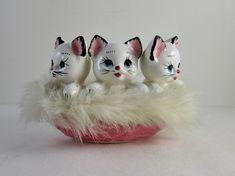 3 White Kittens in Pink Fur Lined Basket Figurine - Empire - Vintage Japan