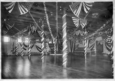 Jonas Clark Hall basement gym decorated for a dance in 1908.