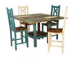 Bombay Pub with Turquoise Stools. Solid top bombay pub table constructed of solid chilean pine, with a unique finishing process for reclaimed look. Accent Furniture, Dining Room Furniture, Furniture Decor, Furniture Stores, Kane Chairs, Lazy Boy Chair, Mismatched Chairs, Fabric Dining Chairs