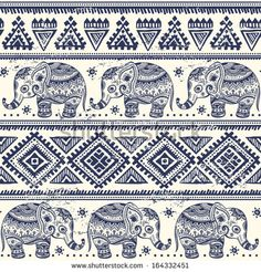 Ethnic elephant seamless pattern  - stock vector