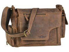 Greenburry VINTAGE - Leder Schultertasche Messenger Umhängetasche New Hunting Bag II - antikbraun