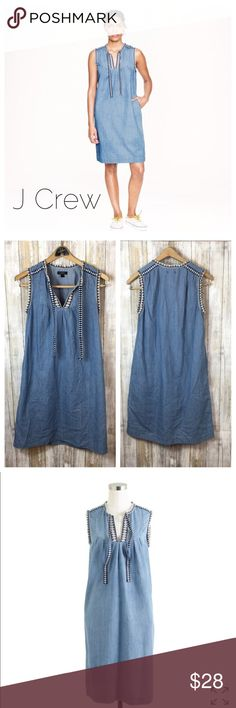 """J Crew Chambray Dress J Crew Washed Chambray Women day Dress  A6236. Preowned size 0.  Straight fit.011708 Measurements flat Bust 19"""" Length 36"""" J. Crew Dresses Midi"""