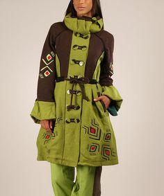 Look at this #zulilyfind! Anise & Chocolate Wool-Blend Funnel-Collar Coat #zulilyfinds