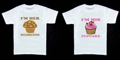 Couple Matching T-shirts - Im Her Studmuffin & Im His Cupcake - White - S-XXL - Best Gift Ever - Cute on Etsy, $18.99
