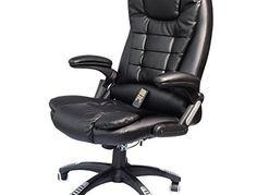 HomCom Executive Ergonomic PU Leather Heated Vibrating Massage Office Chair - Black   Massage Office Chairs