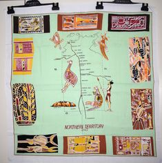 Northern Territory Indigenous Art Tablecloth - Vintage Australiana Uluru Rock Painting Supper Cloth