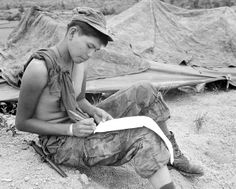 Vietnam War. Private First Class Joseph Big Medicine Jr., a Cheyenne Indian, writes a letter to his family in the United States. He is a member of Company G, 2nd Battalion, 1st Marine Regiment, on a search, clear and destroy mission, seven miles east of the Marine Combat Base at An Hoa, Vietnam circa late 1960s