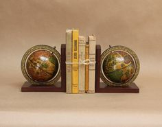 Vintage Globe Bookends Travel Decor by PluckedVintage on Etsy, $28.00