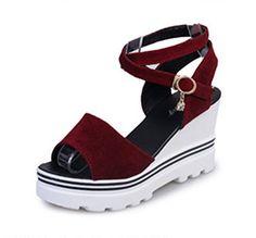 SkyleCoel Womens Platform Cross Straps Buckle Closure Wedges Sandals 65 Red    For more information 5327334fcca60