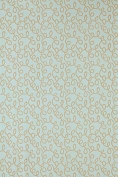 Vermicelli (BP 1547) - Farrow & Ball Wallpapers - Featuring a mesmerising motif of wormy swirls. Showing in beige on duck egg blue water based paints - more colours are available. Please request a sample for true colour match.